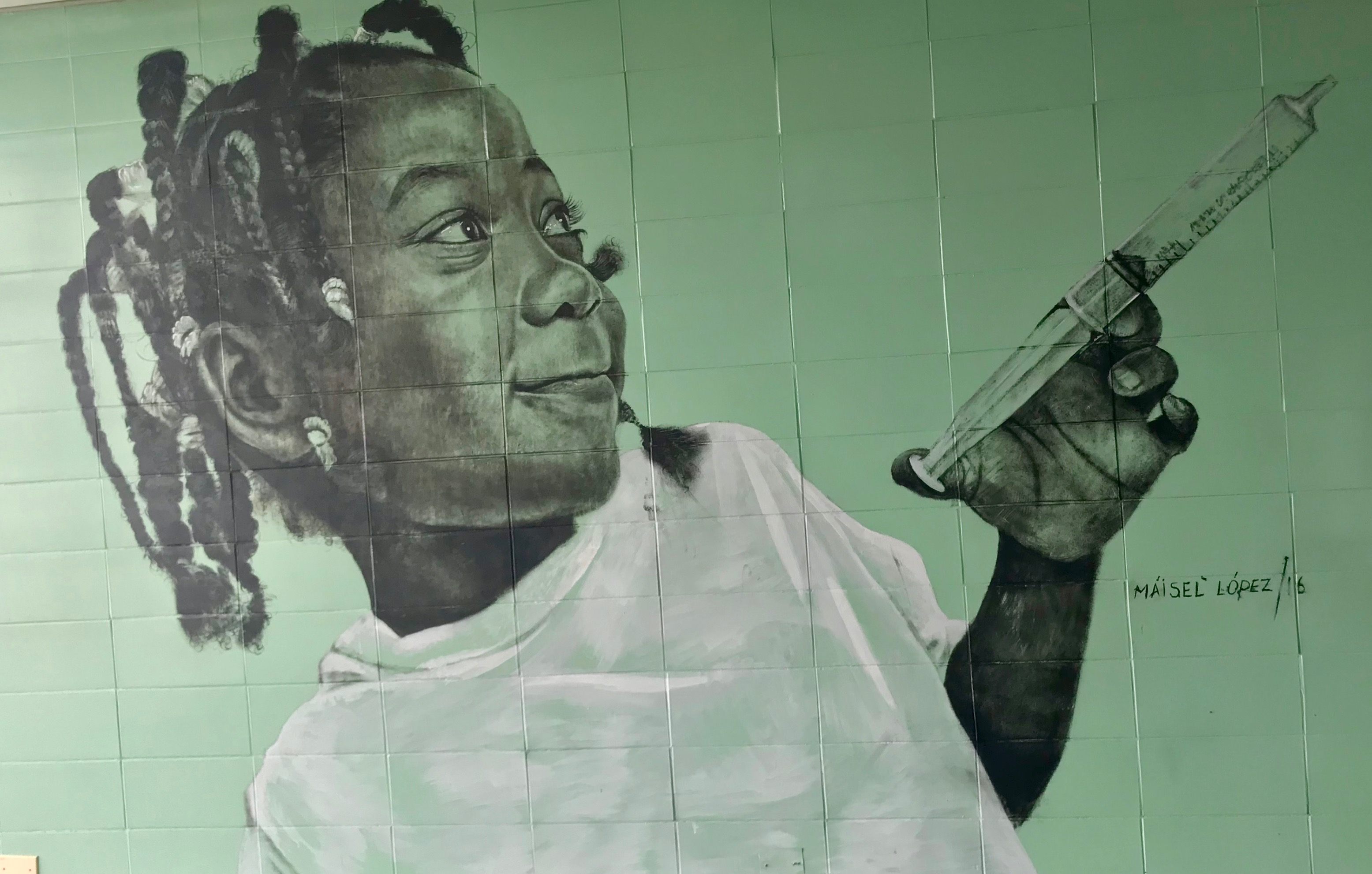 Cuban Mural Child with Syringe