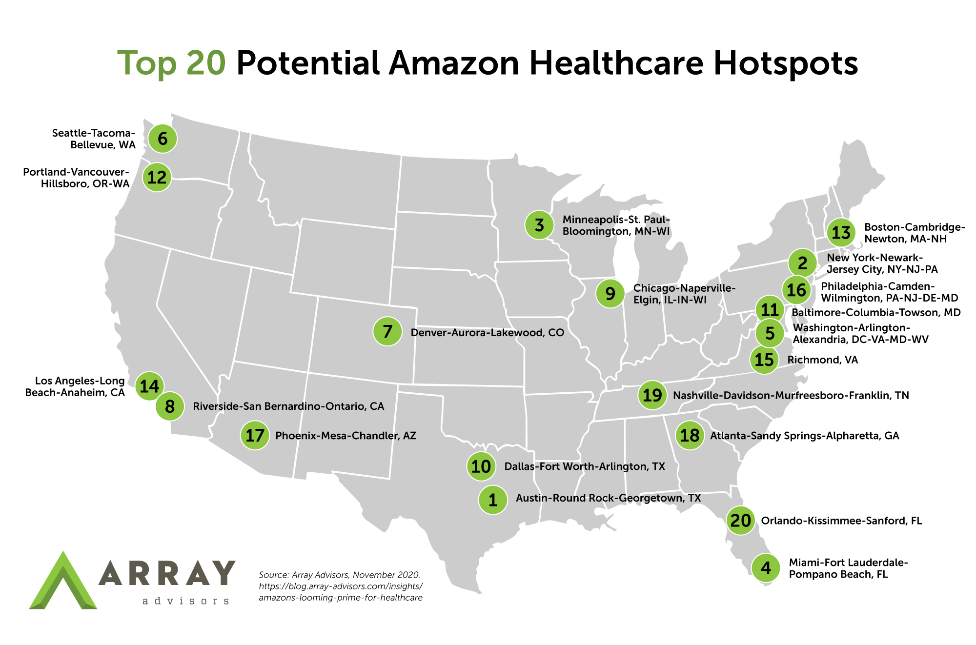 Map Pinpointing 20 Predicted Amazon Healthcare Hotspots